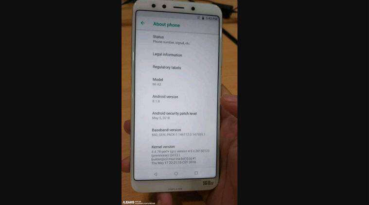 Xiaomi Mi A2 live image running stock Android 8.1 leaked online