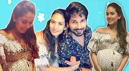 Mira Kapoor's maternity fashion is on point in this ruffle, polka dot dress