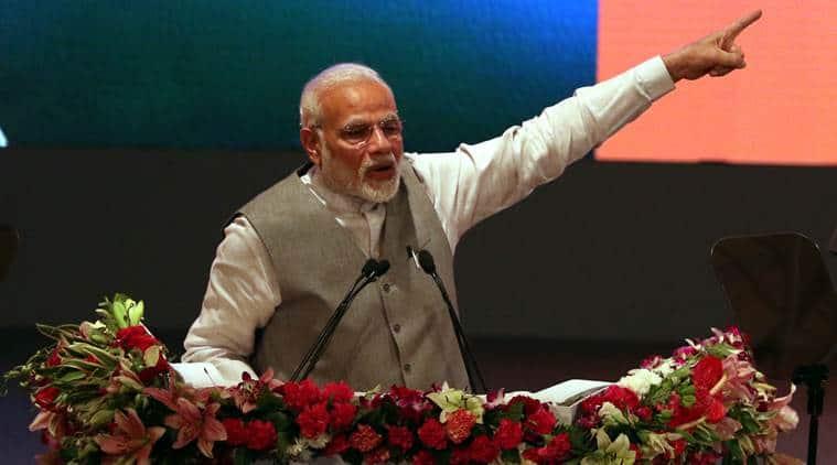 Prime Minister Narendra Modi at the event in Lucknow on Saturday. (Express photo/Vishal Srivastav)