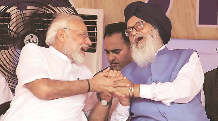 Prime Minister Narendra Modi with former Punjab CM and SAD leader Parkash Singh Badal in Muktsar on Wednesday. (Photo: Gurmeet Singh)