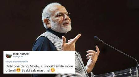 Here's what PM Modi said when a follower asked him to smile more