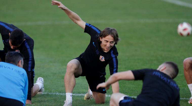 Croatia's Luka Modric during training