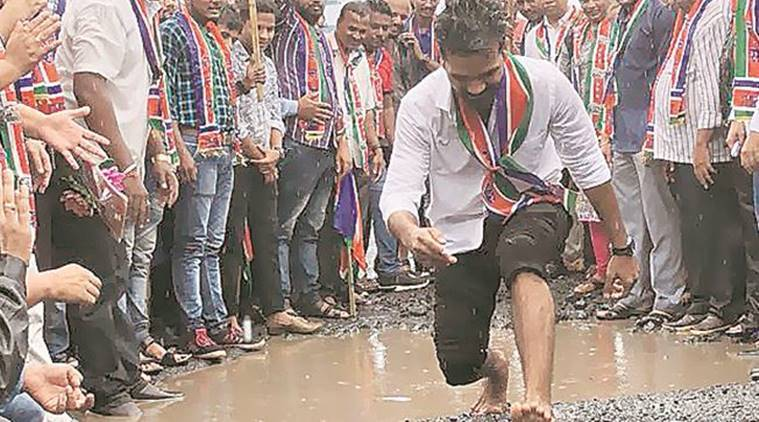 Mumbai potholes: Protestors get creative with long jumps, slow scooter race and sit-in