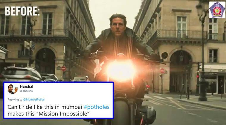 Mumbai Police, Mumbai Police tweets, mission impossible fallout, tom cruise mission impossible, mumbai police mission impossible tweet, mumbai police tom cruise clip, viral news, trending news, indian express
