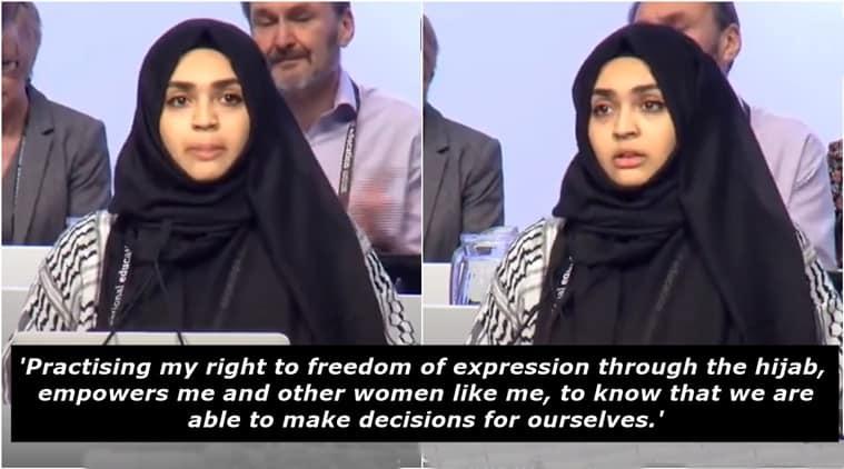 Muslim teacher hijab video viral, Latifa Abouchakra Hijab video viral, UK Muslim teacher hijab video viral, UK Muslim teacher choice to wear hijab viral video, Indian express, Indian express news
