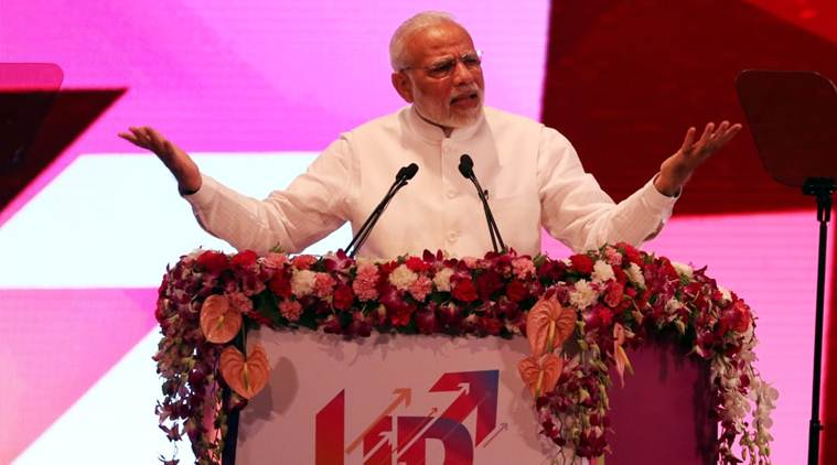 Prime Minister Narendra Modi addresses the gathering at the inaugural ceremony in Lucknow on Sunday. (Express photo/Vishal Srivastav)