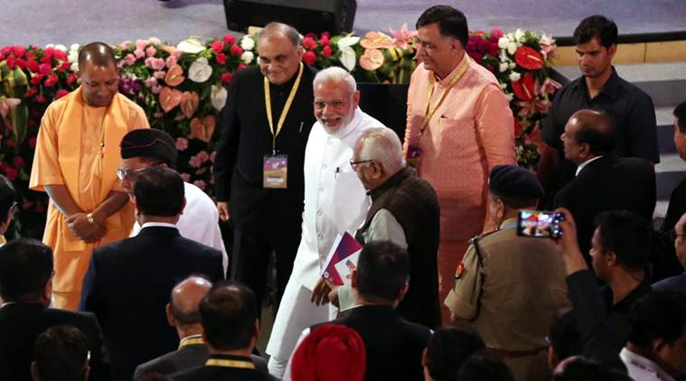 Eighty industrialists, including major firms such as Birla, Reliance, and Adani attended the ceremony alongside Chief Minister Yogi Adityanath and Union Home Minister Rajnath Singh. (Express photo/Vishal Srivastav)