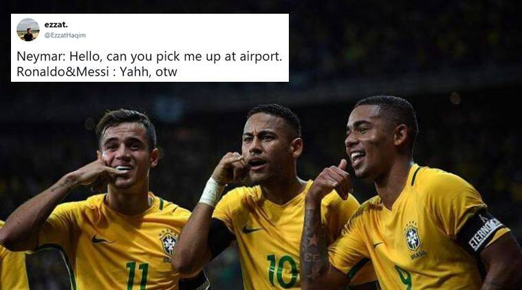 fifa world cup 2018, brazil, belgium, brazil vs belgium, neymar, brazil world cup quarter final, neymar memes, neymar rolling jokes, indian express, sports news, football news