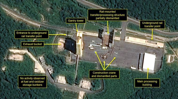 denuclearisation, North Korea, Sohae Satellite Launching Station, first step towards denuclearisation, US, US North Korea summit, Kim Jong Un, Donald Trump, North Korea denuclearisation, World News, Indian Express