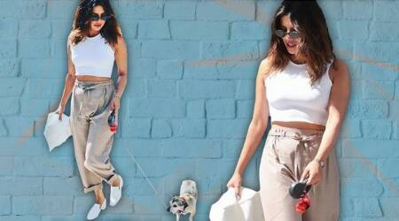 Sun-kissed Priyanka Chopra steps out in style with her petpup