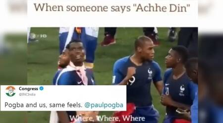 Congress' Twitter handle takes a dig at BJP with a 'Pogba looking for Achhe Din' meme