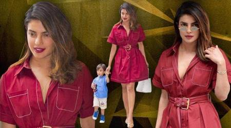 Priyanka Chopra is femme fatale in a rich burgundy wrap-dress