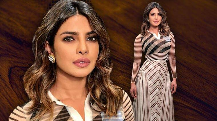 priyanka chopra, priyanka chopra fendi, priyanka chopra striped top and skirt, priyanka chopra pantene event, priyanka chopra mumbai, priyanka chopra latest photo, indian express, indian express news