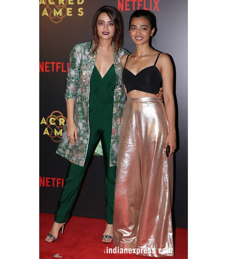 Sacred Games premiere, Radhika Apte, Radhika Apte latest photos, Radhika Apte fashion, Radhika Apte metallic pants, Chitrangda Singh, Chitrangda Singh latest photos, Suvreen Chawla, indian express, indian express news