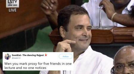 No-confidence motion: Rahul Gandhi's wink in Parliament triggers meme-fest on Twitter