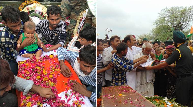 Mukut Bihari Meena, jawan martyred kashmir, kupwara attack, jawan killed kupwara, rajasthan jawan killed kupwara, Mukut Bihari Meena last rights, jawan daughter on coffin, Letter to Daughter of Martyr, viral news, india news, indian express