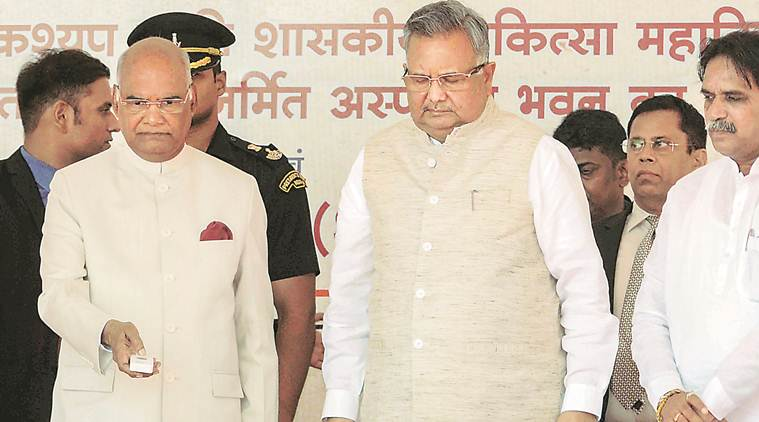 President Ram Nath Kovind with Chhattisgarh Chief Minister Raman Singh at the inauguration of a college campus in Jagdalpur on Thursday. PTI