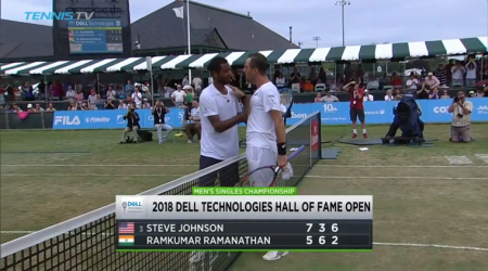 Ramkumar Ramanathan and Steve Johnson at the net following the Hall of Fame Open Final