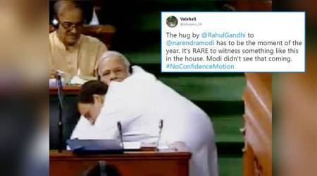 Rahul Gandhi hugs PM Modi after speech; Twitter flooded with memes