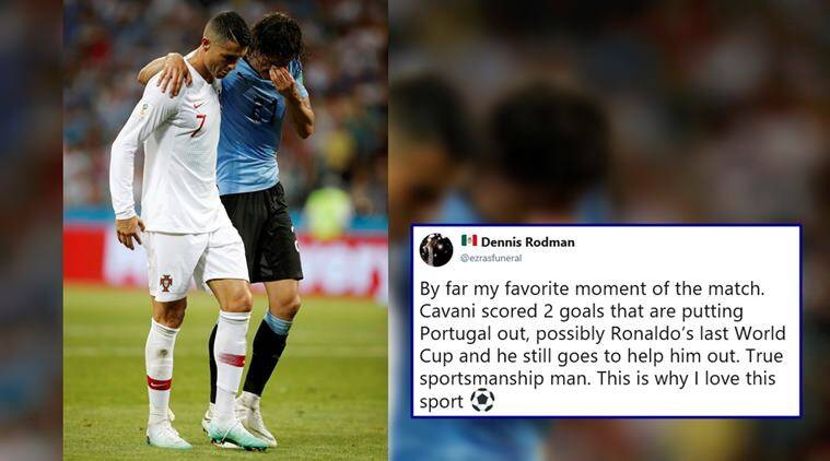 fifa worls cup 2018, portugal vs uruguay, cristiano ronaldo, Edinson Cavani, ronaldo help cavani, sports news, ronaldo helps injured Cavani, viral news, video videos, indian express