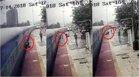 CCTV VIDEO: RPF constable saves passenger from slipping on train tracks; gets lauded online