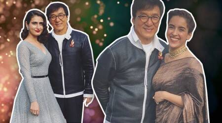 The 'Dangal' sisters look lovely as they pose with Jackie Chan in China