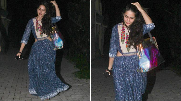 sara ali khan, sara ali khan ethnic wear, sara ali khan blue dress, ethnic wear, sara ali khan movies, sara ali khan pictures, indian express