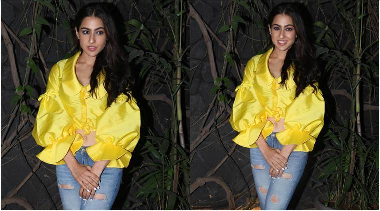sara ali khan, sara ali khan pics, sara ali khan kedarnath, sara ali khan at kedarnath wrap up party, sara ali khan kedarnath wrap up party photo, indian express, indian express news