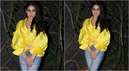 Sara Ali Khan looks lovely in this satin yellow knotted ruffle top at Kedarnath's wrap-up party