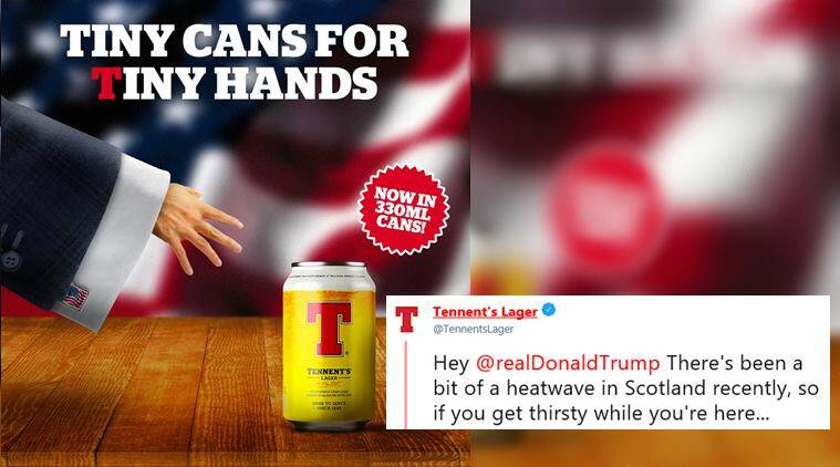 donald trump, trump in scotland, trump scottish beer company troll, tennents lager anti trump ad, tennents lager tiny cans, viral news, world news, funny news, odd news, indian express