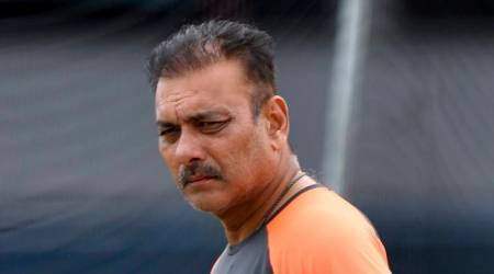 India's coach Ravi Shastri looks on, during a nets session at Headingley Carnegie, in Leeds, England