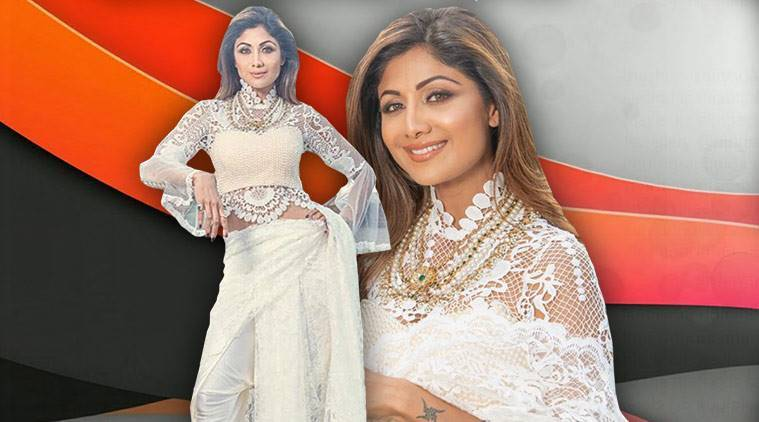 Shilpa Shetty, Shilpa Shetty latest photos, Shilpa Shetty fashion, Shilpa Shetty sari pants, Shilpa Shetty fusion saris, Shilpa Shetty Ria Kashyap, indian express, indian express news