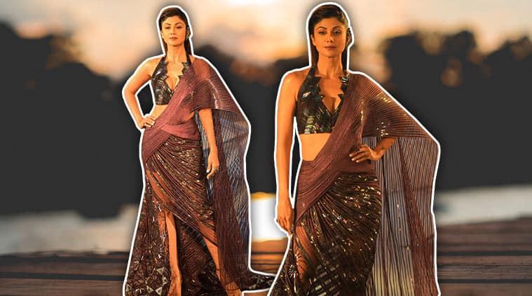 Shilpa Shetty, india couture week 2018, Shilpa Shetty india couture week 2018, Amit Aggarwal, Shilpa Shetty Amit Aggarwal, Shilpa Shetty ICW 2018, Shilpa Shetty metallic sari, celeb fashion, bollywood fashion, indian express, indian express news
