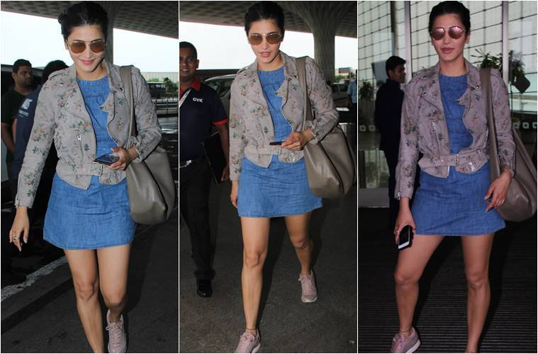 Shruti Haasan once again wears a Short Denim Frock and grabs everyone