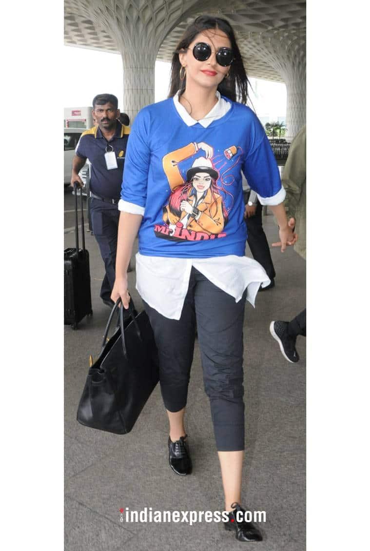 Sonam Kapoor, Sonam Kapoor latest photos, Sonam Kapoor fashion, Sonam Kapoor oversized shirts, Sonam Kapoor airport style, Sonam Kapoor shirts, indian express, indian express news