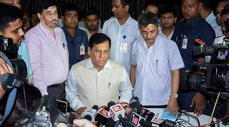 Assam Chief Minister Sarbananda Sonowal speaks to the media in Guwahati on Monday. (PTI)