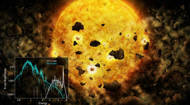 Astronomers spy nearby star that could be munching on a planet