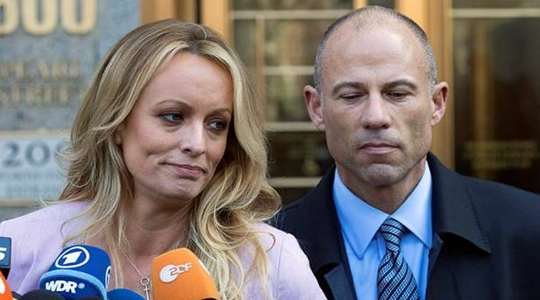 Adult film actress Stormy Daniels with her lawyer Michael Avenatti outside the federal court in New York. (AP/File)