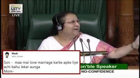 Speaker Sumitra Mahajan's response to Rahul Gandhi's hug has turned into a hit meme