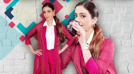 Tabu is a picture of elegance in this bright pink Payal Khandwala ensemble