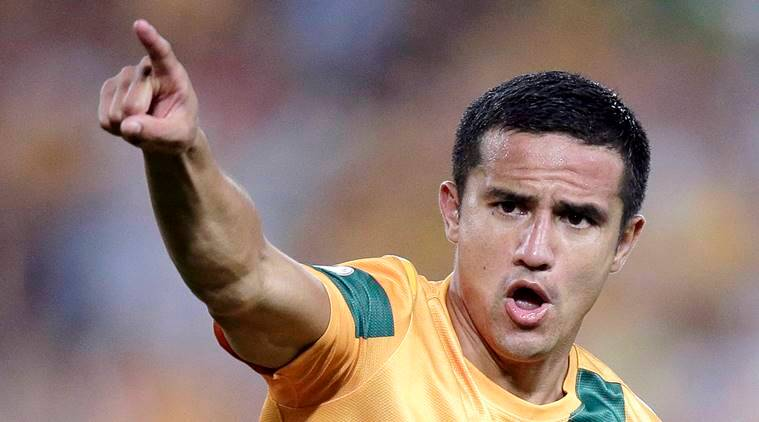In this March 26, 2013, file photo, Australia's Tim Cahill reacts after scoring against Oman during their World Cup Asian qualifying soccer match at the Olympic Stadium in Sydney