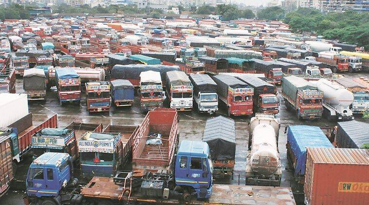 Trucks remain grounded at the Vashi APMC terminal in Navi Mumbai on Friday. (Express photo/Amit Chakravarty)