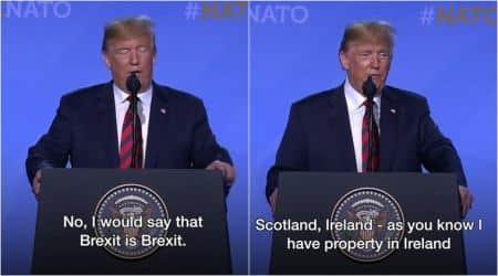 donald trump, trump uk visit, brexit, trump brexit, trump brexit remark, trump brexit speech, trump funny speeches, viral videos, indian express