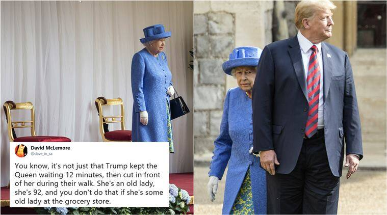 donald trump, Queen Elizabeth II, trump meets queen, trump keep queen waiting, trump walk in front of queen, trump breaks royal protocols, trump UK visit, world news, indian express