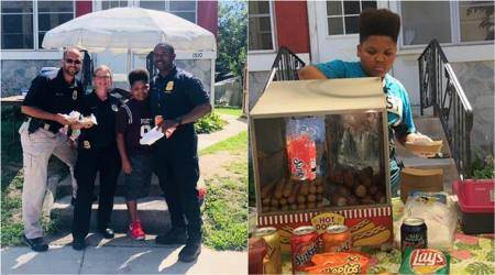 Instead of shutting down, police and health dept come together to help a US boy keep his hot-dog stand