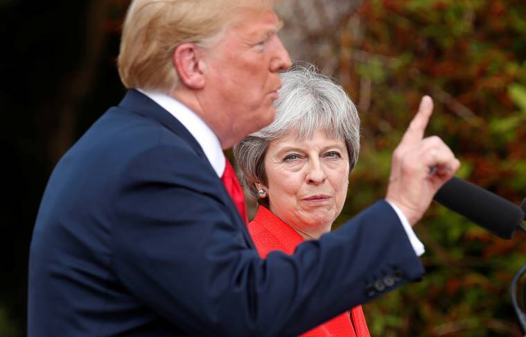 "UK PM May doing ""fantastic"" job on Brexit, says Trump, promising trade deal"