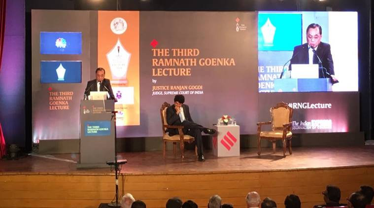 ramnath goenka memorial lecture, justice ranjan gogoi, supreme court judge ranjan gogoi, indian express rng lecture, ranjan gogoi indian express