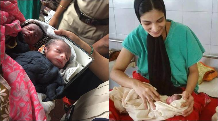 woman delivers baby station, woman give birth railways staion, woman twin birth kalyan station, twins born train station, rpf constable deliver baby, indian express, indian news, good news