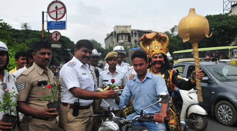 Traffic Police yamaraj, Bengaluru yamaraj, yamaraj reminds people of traffic rules,
