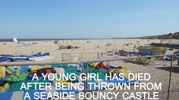 young girl dies bouncy castle, girl jumps from bouncy castle to death, young girl dies video, viral videos, young girl dies viral video, young girl jumps from bouncy castle dies, Indian express, Indian express news